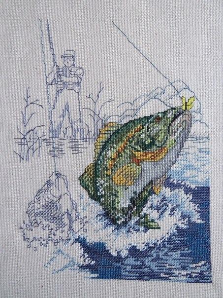 рыбалка схема для вышивки бисером