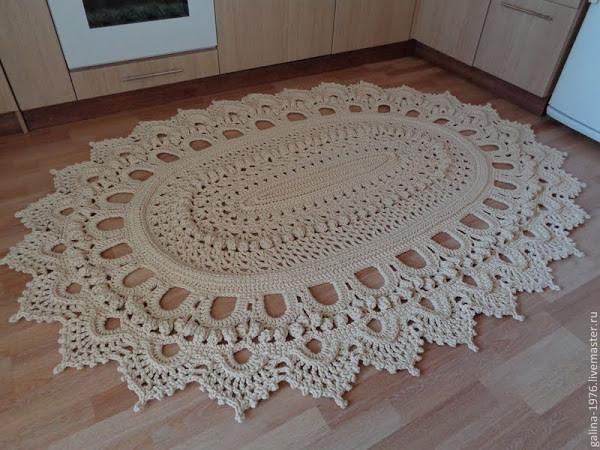 Вязание овального ковра из