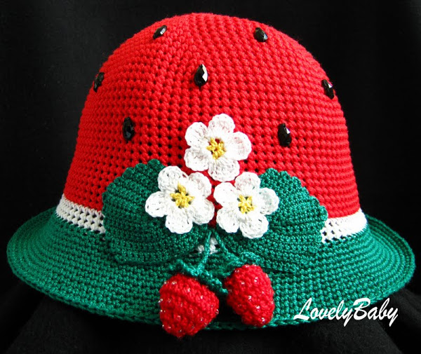 crochet strawberry and watermelon hat