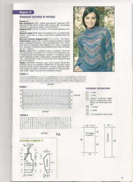 Как вязать спицами из мохера пуловер