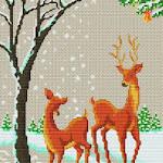 04.12.2011. Категория.  Вышивка крестиком - Рыжие олени.  Животные.  Просмотров: 154 Дата.