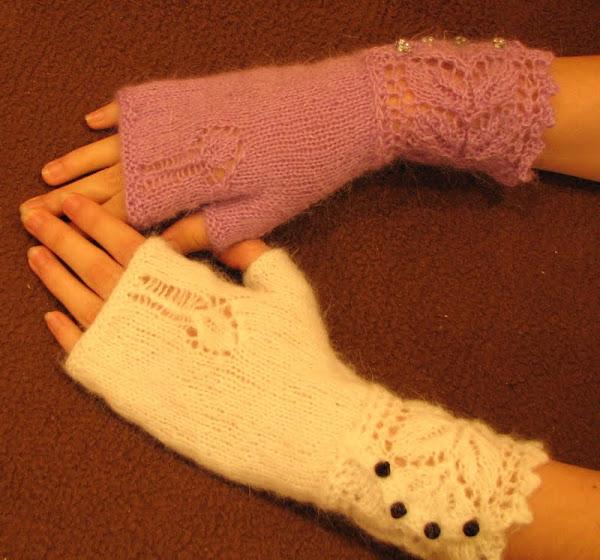 пальцев - митенки спицами
