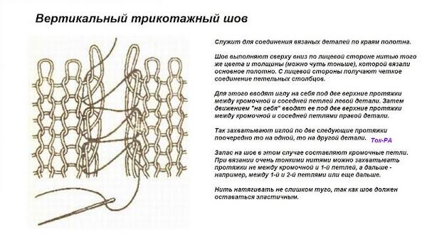 Вертикальный шов вязание