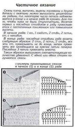 Вязание скосов плеча и горловины