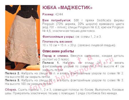 Описание вязанной юбки