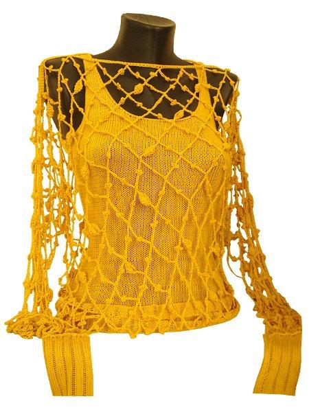 Вязание крючком пуловер сеткой