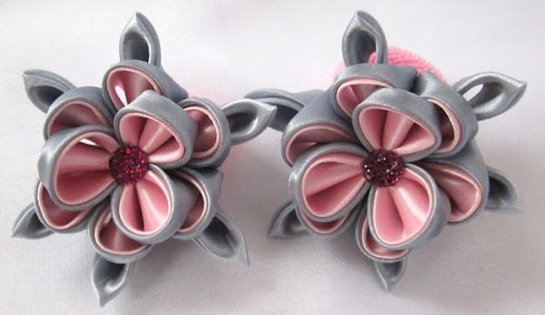 Канзаши резиночки для волос из атласных лент