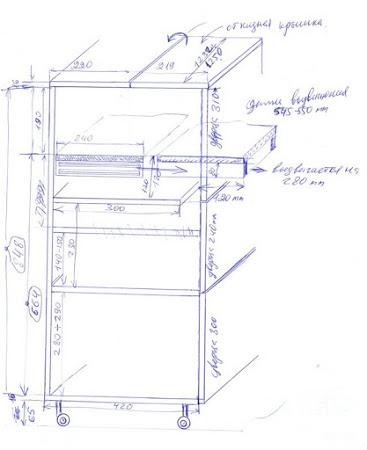 Чертеж стола для вязальной машины из сети интернет
