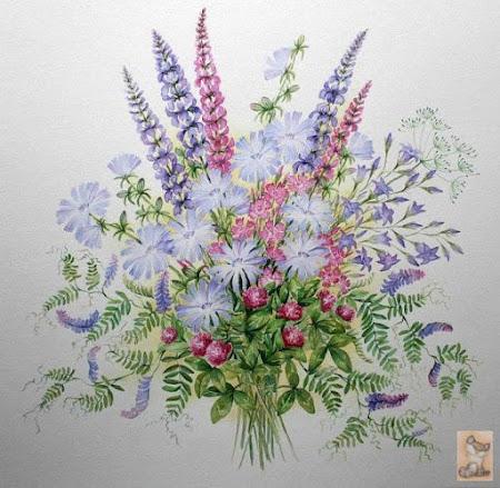 Букеты полевых цветов вышивка лентами