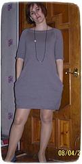 Платье туника спицами с карманами