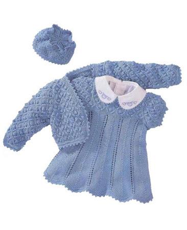 Комплект цвета незабудки (платье, болеро, шапочка)