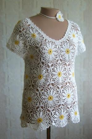 Схема ромашка крючком платье