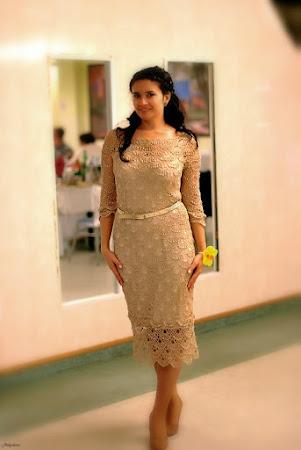 Платье из шелка крючком