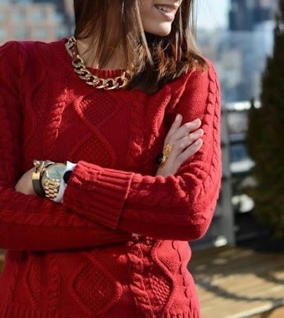 Rojo del Amor: свитер с аранами от Mango
