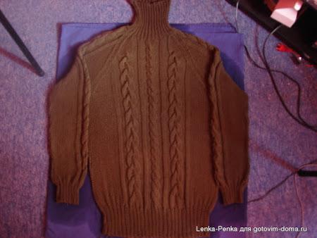 Мужской свитер с аранами и регланом
