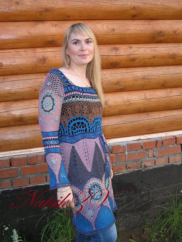 """Перуанский мотив"" - платья крючком."